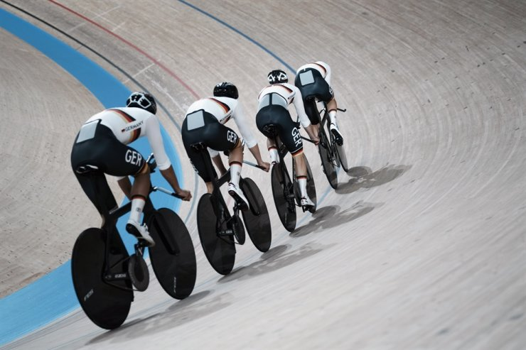 Members of the German men's track cycling team round the track during a training session inside the Izu velodrome at the 2020 Summer Olympics, July 29, in Tokyo. AP-Yonhap