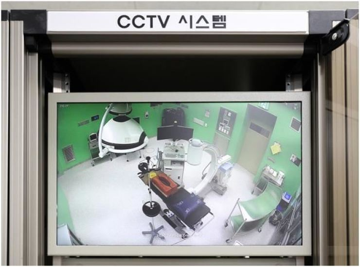 This photo disclosed by the Gyeonggi Provincial Government on Oct. 2, 2019, shows surveillance camera footage of an operating room at the Gyeonggi Provincial Medical Center's Ansung Hospital. Courtesy of Gyeonggi Provincial Government