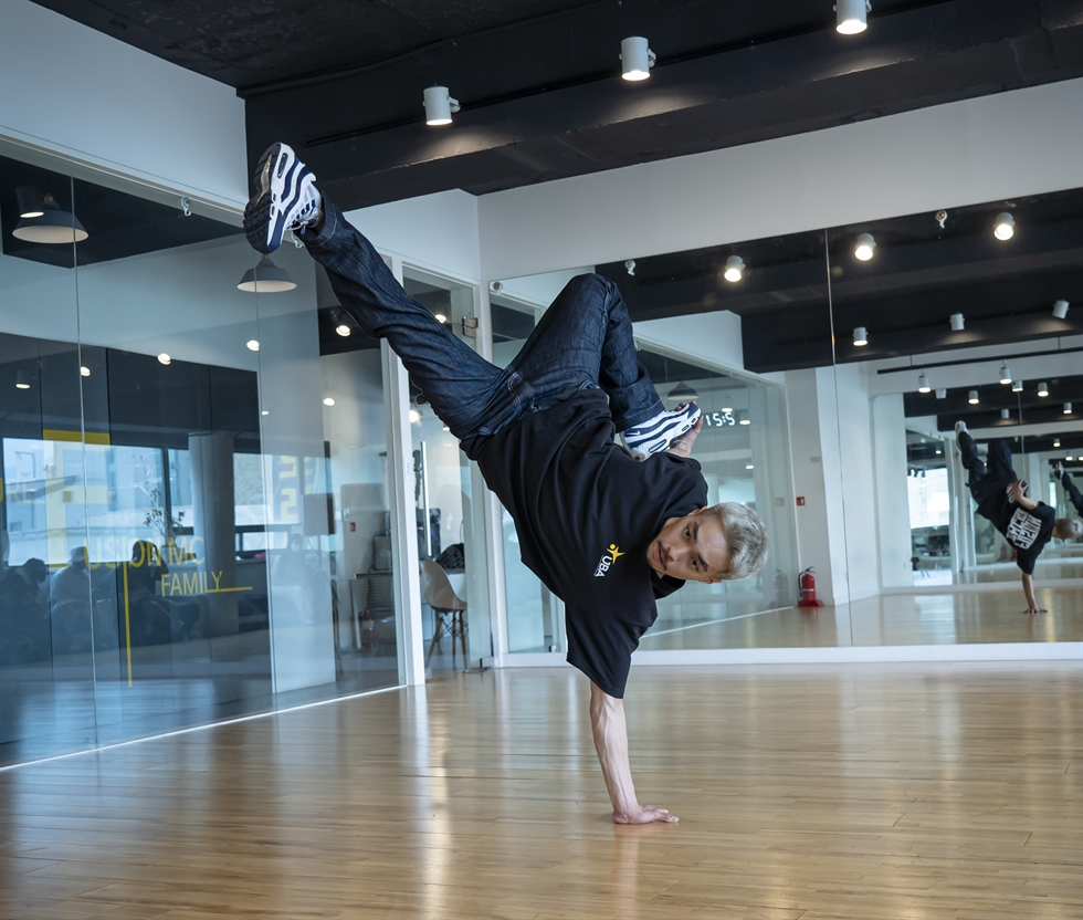 B-boy Kim Jong-ho, also known as Leon, poses after an interview with The Korea Times at Fusion MC dance studio in Uijeongbu, Gyeonggi Province, Monday. Korea Times photo by Kim Kang-min