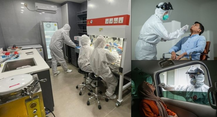 In these three images, health workers in protective suits carry out COVID-19 screening tests at K-Lab, a test center in Indonesia operated exclusively by LX Internatonal and its predecessor, LG International. Courtesy of LX International