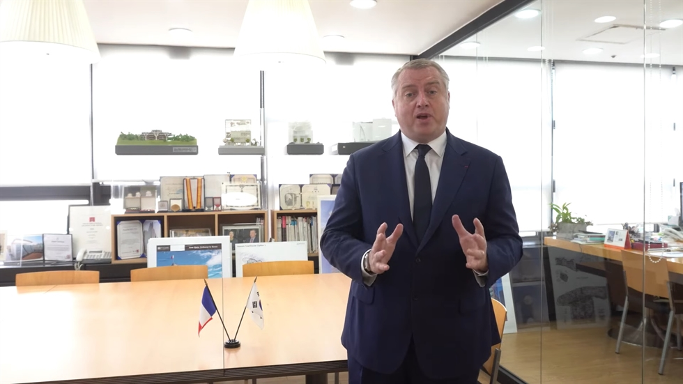 French Ambassador to Korea Philippe Lefort speaks in a video introducing a series of interviews of young French professionals in Korea to commemorate France's National Day which falls on July 14. Screenshot from YouTube