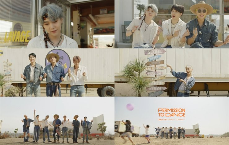 Combination of image grabs from a teaser video of 'Permission to Dance,' a new song of BTS / Yonhap