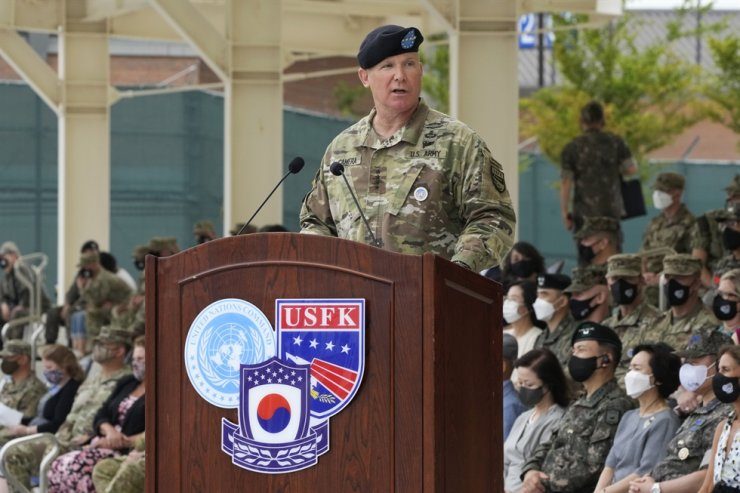 Commander, Gen. Paul J. LaCamera speaks during a change-of-command ceremony for the United Nations Command, Combined Forces Command, and United States Forces Korea at Barker Field in Pyeongtaek, July 2. AP-Yonhap