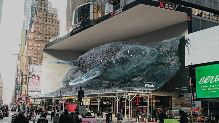 A rendering of a'strict's media art installation, 'Whale #2' (2021) / Courtesy of the artist and Kukje Gallery