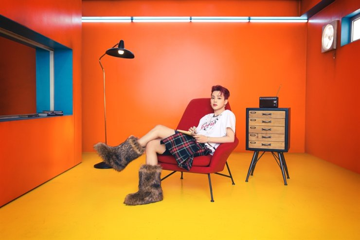 A teaser image of BTS member Jimin wearing a plaid kilt / Courtesy of Big Hit Music