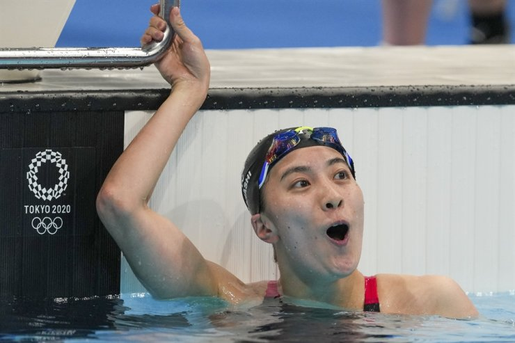 Yui Ohashi of Japan reacts after winning the women's 200-meter individual medley final at the 2020 Summer Olympics, July 28, in Tokyo. AP-Yonhap