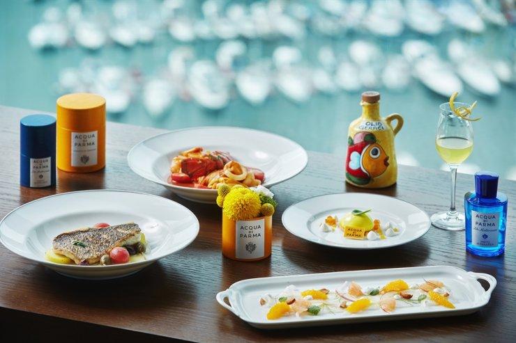 Park Hyatt Busan's Italian restaurant, Living Room, collaborates with Italian premium niche perfume brand 'Acqua di Parma' to offer a limited special summer course. Courtesy of Park Hyatt Busan