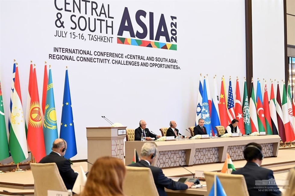 President of Uzbekistan Shavkat Mirziyoyev delivers a speech during the 'Central and South Asia: Regional Connectivity. Challenges and Opportunities' conference in Tashkent, Friday. Courtesy of Presidential Office of Uzbekistan