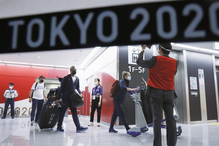 Olympic athletes from the United States arrive at Narita International Airport, east of Tokyo, July 1. AP-Yonhap
