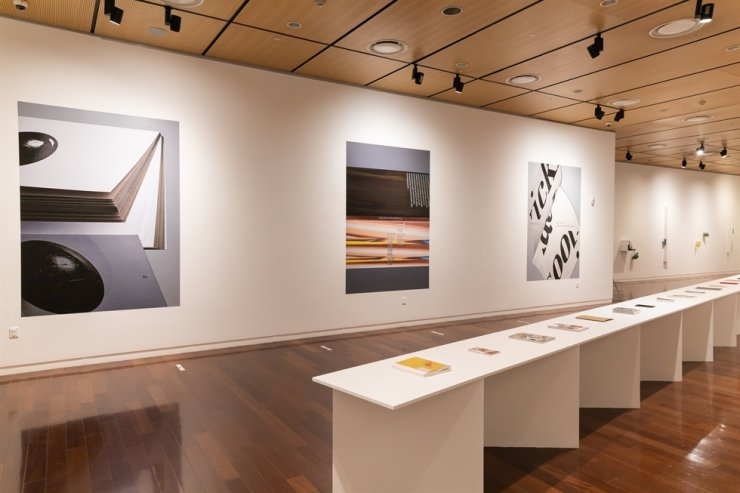 A view of the 'Versatile Volumes' exhibition, which shows the 33 books that won the