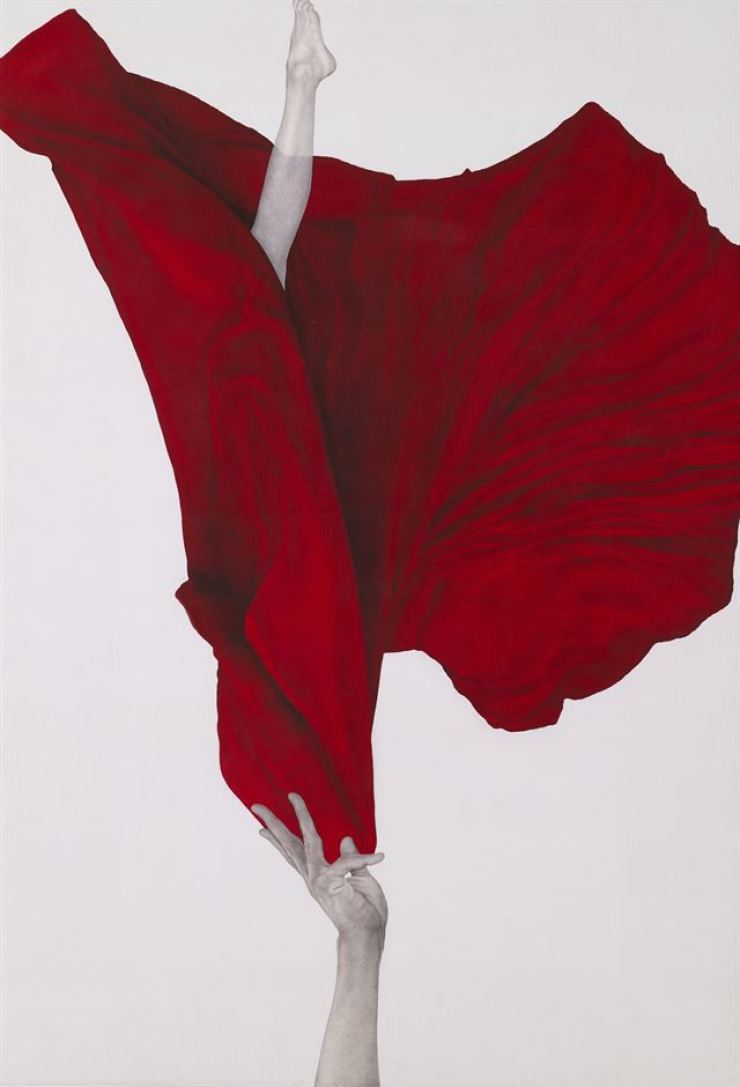 'Shinhwa ― My name is red (Part I),' Kim Sun-jeong (Chinese ink on silk, 134 x 91 centimeters, 2019) / Courtesy of Kim Sun-jeong