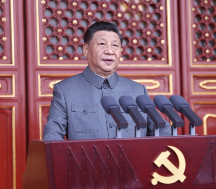 A handout photo made available by Xinhua News Agency shows Chinese President Xi Jinping delivering his speech during a celebration marking the 100th founding anniversary of the Chinese Communist Party, Beijing, July 1. EPA-Yonhap