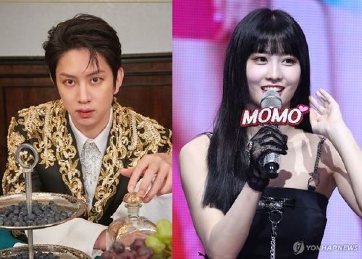 Kim Hee-chul of Super Junior, left, and Momo of TWICE / Yonhap