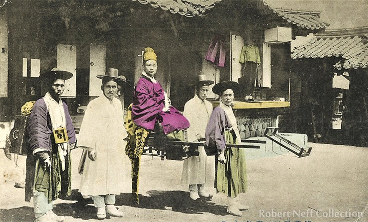 A Korean high official and his chair. Circa the late 19th century. Robert Neff Collection