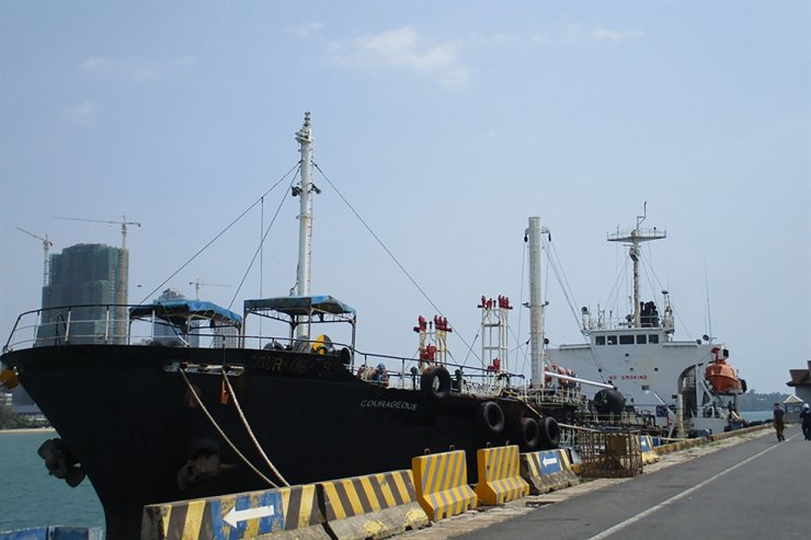 This handout image obtained on July 30, courtesy of the U.S. Department of Justice, shows oil tanker M/T Courageous docked in an undisclosed location and date. - A U.S. federal court on July 30 ordered the seizure of an oil tanker suspected of making deliveries to North Korea in violation of U.S. sanctions against Pyongyang. AFP-Yonhap