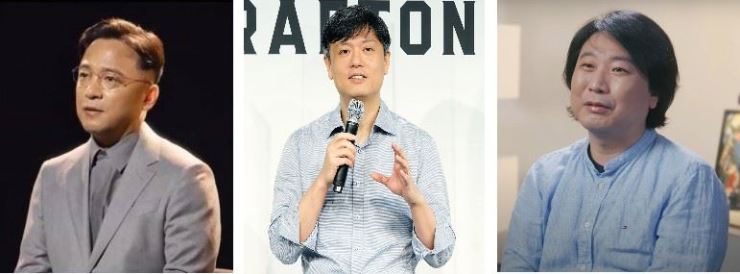 From left are NCSOFT founder Kim Taek-jin, Krafton founder Chang Byung-gye and Pearl Abyss founder Kim Dae-il