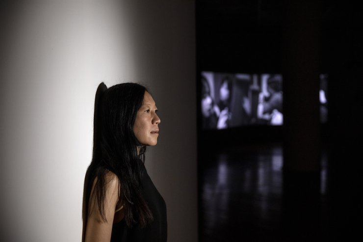 Korean-Danish visual artist Jane Jin Kaisen poses at her exhibition 'Community of Parting' at Art Sonje Center in Jongno District, central Seoul. Korea Times photo by Shim Hyun-chul