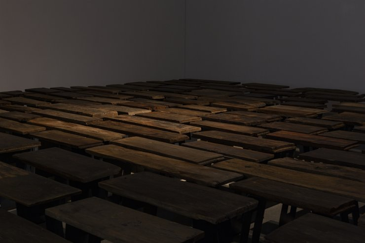 Jung Myung-taek's 'Maru' (2021), made up of Hanok (traditional Korean house) floorboards, steel and rubber, on display at The Page Gallery in Seongdong District, eastern Seoul / Courtesy of The Page Gallery