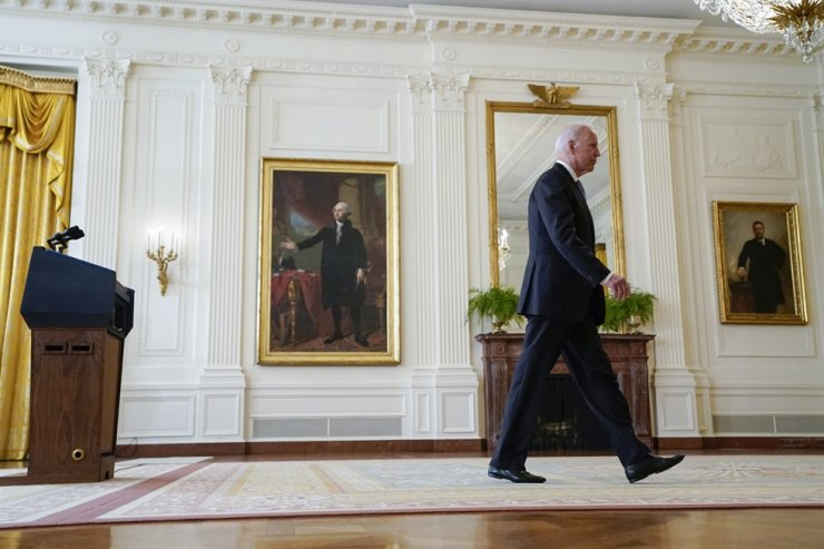 U.S. President Joe Biden walks from the podium after speaking about Afghanistan from the East Room of the White House, Aug. 16, in Washington. AP-Yonhap
