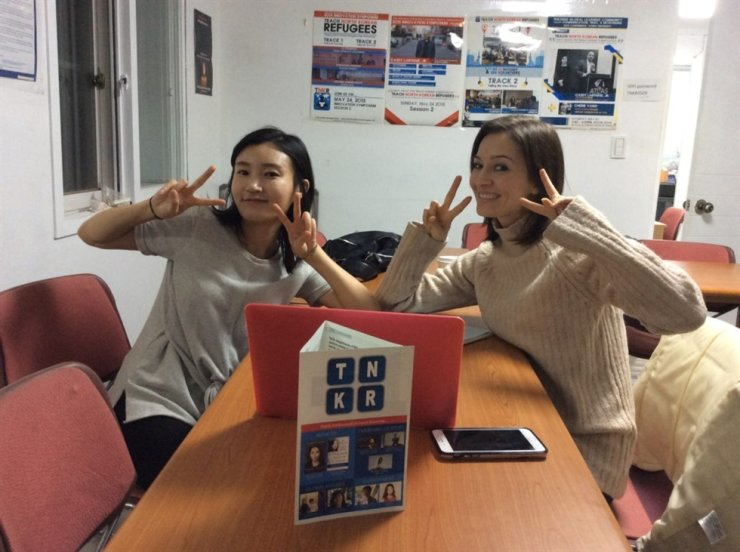 Jennifer Bowman, right, and Cherie Yang take a break from a mentoring session at the FSI office in Mapo District of Seoul. Courtesy of Voices from the North