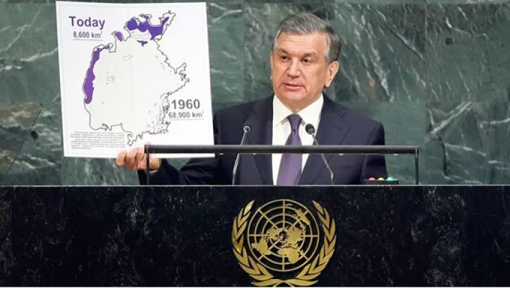 President of the Republic of Uzbekistan Shavkat Mirziyoyev addresses the 72nd session of the U.N. General Assembly on the issue of the drying up of the Aral Sea, in September 2017. Courtesy of Embassy of Uzbekistan in Korea