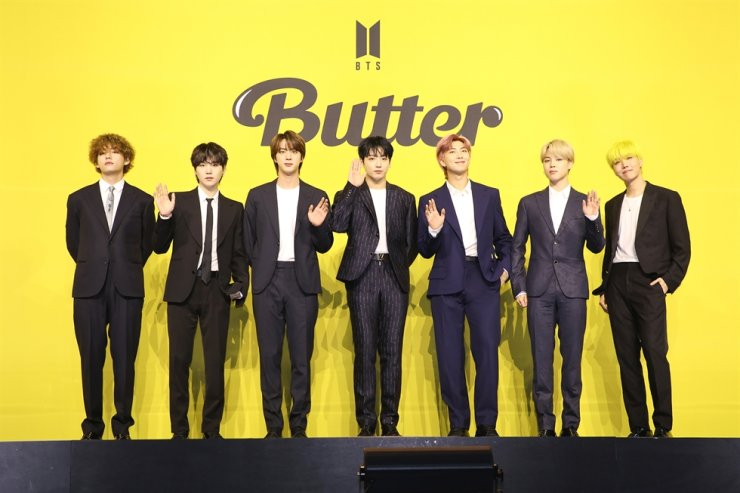 From left, V, Suga, Jin, Jungkook, RM, Jimin and J-Hope of K-pop titan BTS pose during a press conference in Seoul, May 21. Courtesy of Big Hit Music