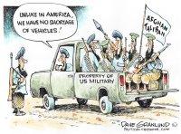 Taliban and US vehicles