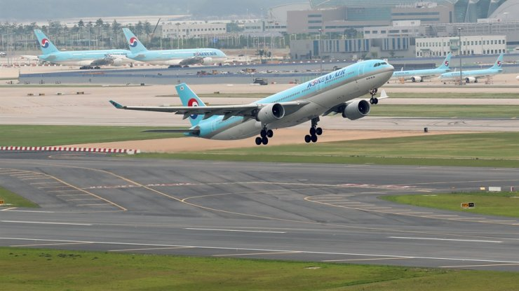 In this June 17 photo, a Korean Air plane takes off from Incheon International Airport. Yonhap