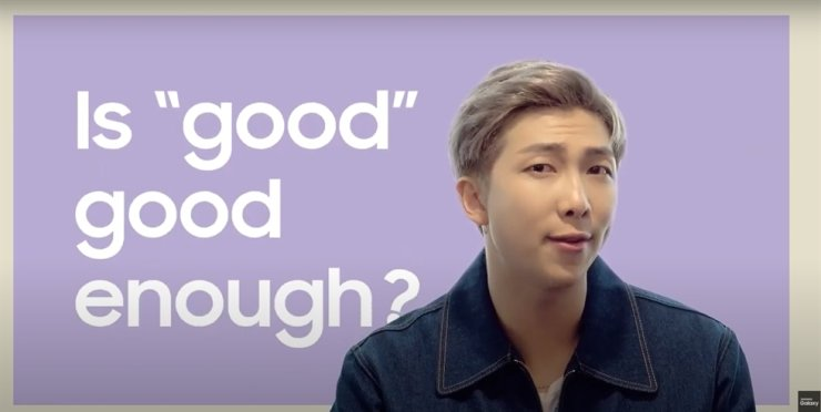 BTS member RM is seen in a Samsung Electronics advertisement for its Galaxy Unpacked event. Captured from Samsung Electronics' YouTube