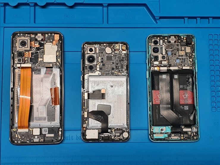 Xiaomi Mi 10T 5G, Huawei P40 5G, OnePlus 8T 5G phones are seen in the Lithuania's Defense Ministry laboratory in Vilnius in this undated handout obtained by Reuters. Reuters-Yonhap
