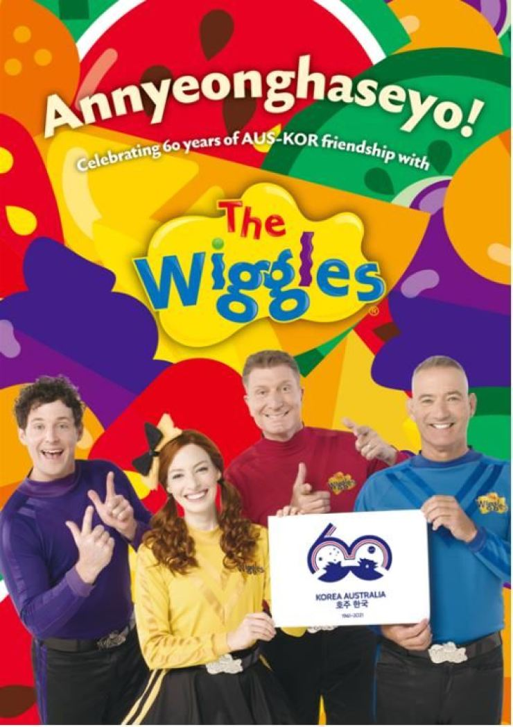 Australian children's music group The Wiggles holds up the logo for the 60th anniversary of diplomatic relations between South Korea and Australia. Courtesy of the Ministry of Culture, Sports and Tourism
