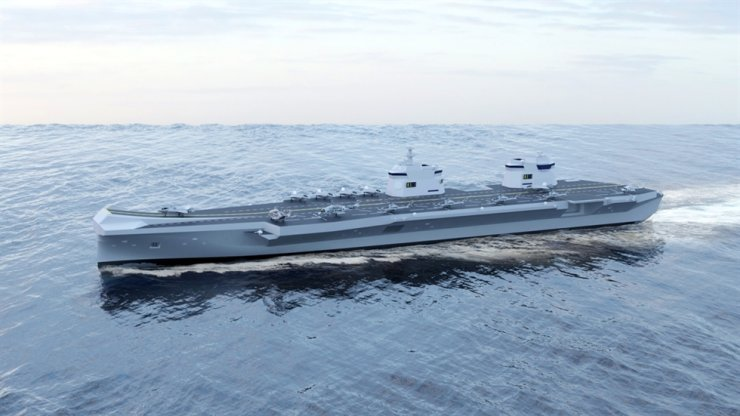 This image shows an aircraft carrier model proposed by the shipbuilder. Courtesy of Hyundai Heavy Industries