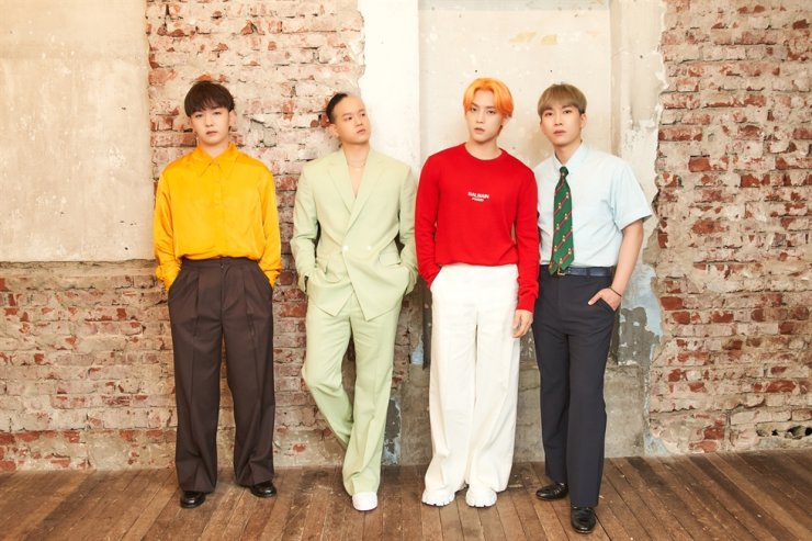 From left, Changsub, Peniel, Minhyuk and Eunkwang of K-pop boy group BTOB, pose during an online media conference, Monday. Courtesy of Cube Entertainment