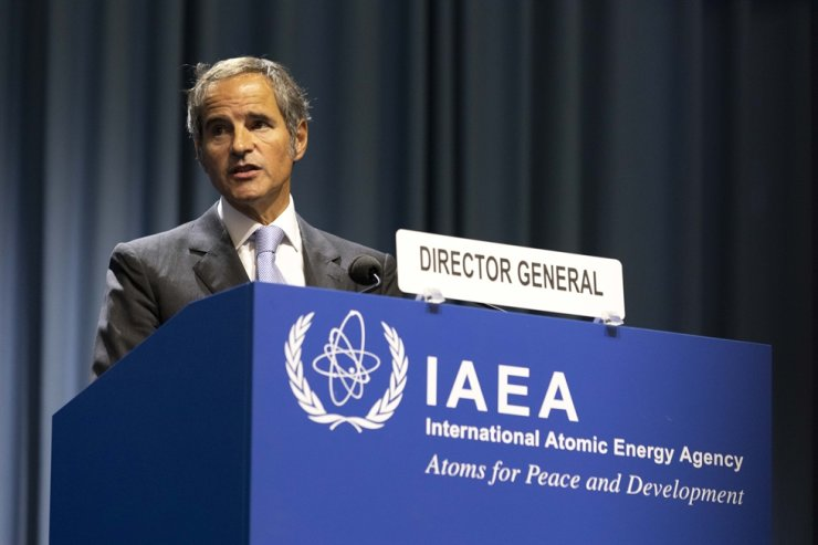 Director General of the International Atomic Energy Agency (IAEA) Rafael Mariano Grossi from Argentina talks on stage at the IAEA General Conference about nuclear verification in Iran in Vienna, Austria, Monday AP-Yonhap