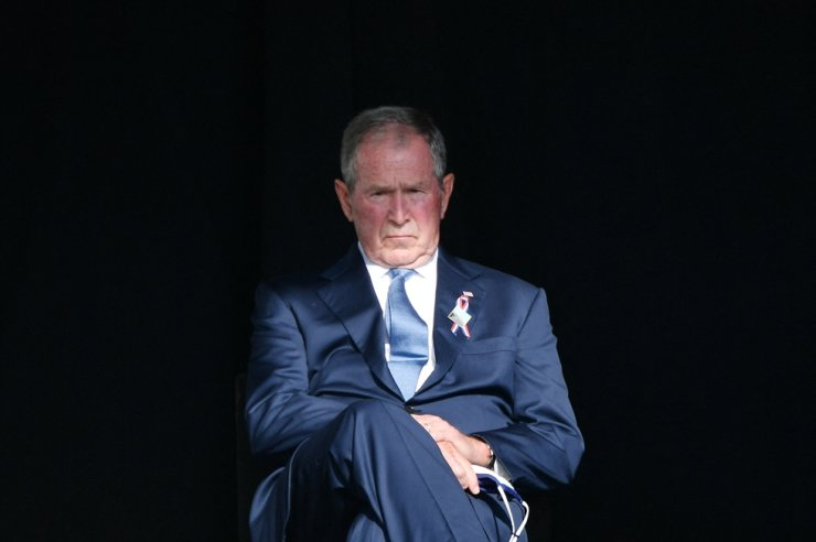 Former U.S. President George W. Bush attends a 9/11 commemoration at the Flight 93 National Memorial in Shanksville, Pennsylvania on Sept. 11. AFP-Yonhap