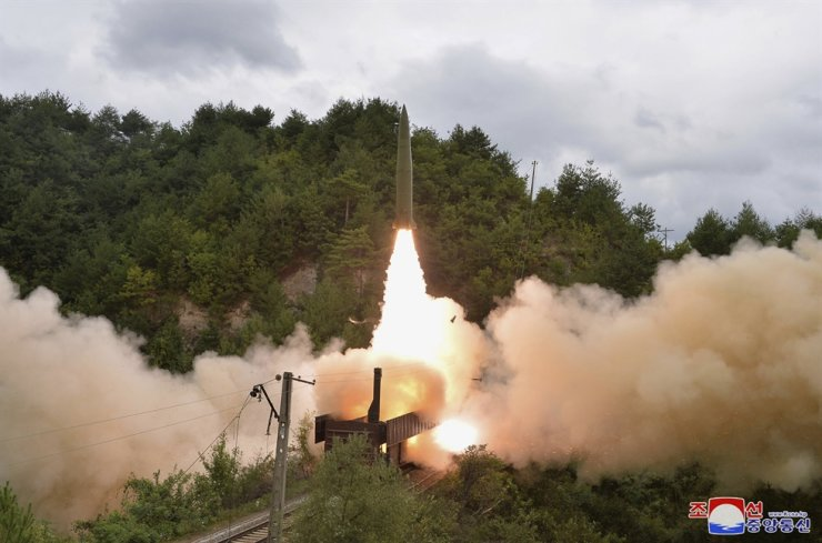This photo provided by the North Korean government Sept. 16 shows a test missile is launched from a train on Sept. 15, in an undisclosed location of North Korea. North Korea on Friday rejected President Moon Jae-in's proposal to declare a formal end to the 1950-53 war as 'something premature.' AP-Yonhap
