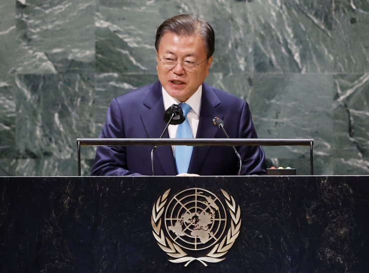 President Moon Jae-in speaks at the United Nations meeting on Sustainable Development Goals during the 76th session of the U.N. General Assembly at U.N. headquarters, Sept. 20. AP-Yonhap