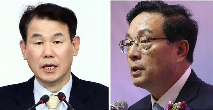 Financial Supervisory Service Governor Jeong Eun-bo, left, and Woori Financial Group Chairman Son Tae-seung / Yonhap