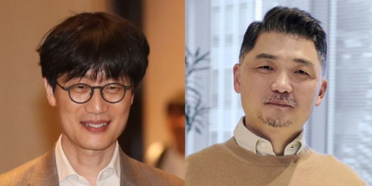 From left are Naver founder Lee Hae-jin and Kakao founder Kim Beom-su. Yonhap