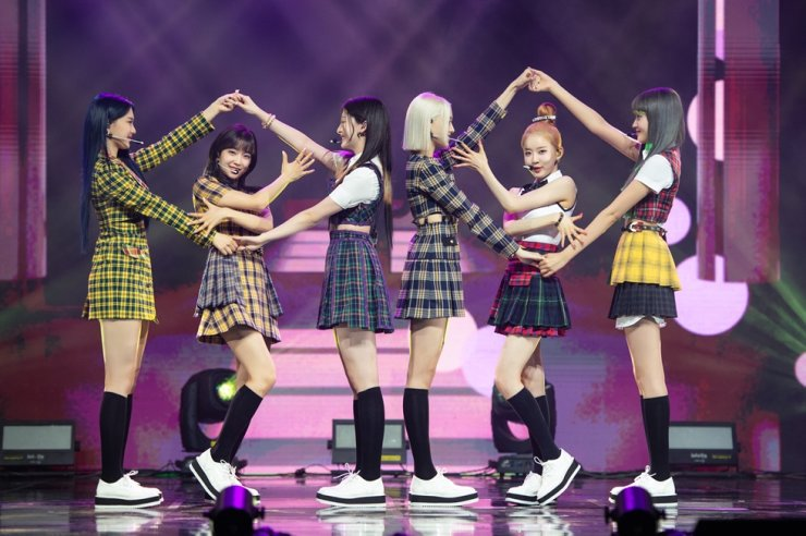Members of K-pop girl group STAYC perform during an online press event, Monday. Courtesy of High-Up Entertainment