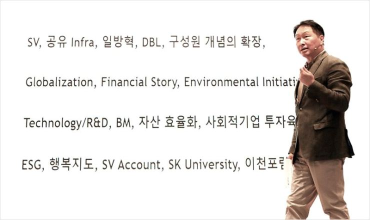 SK Group Chairman Chey Tae-won speaks at a company event held online last month. Courtesy of SK