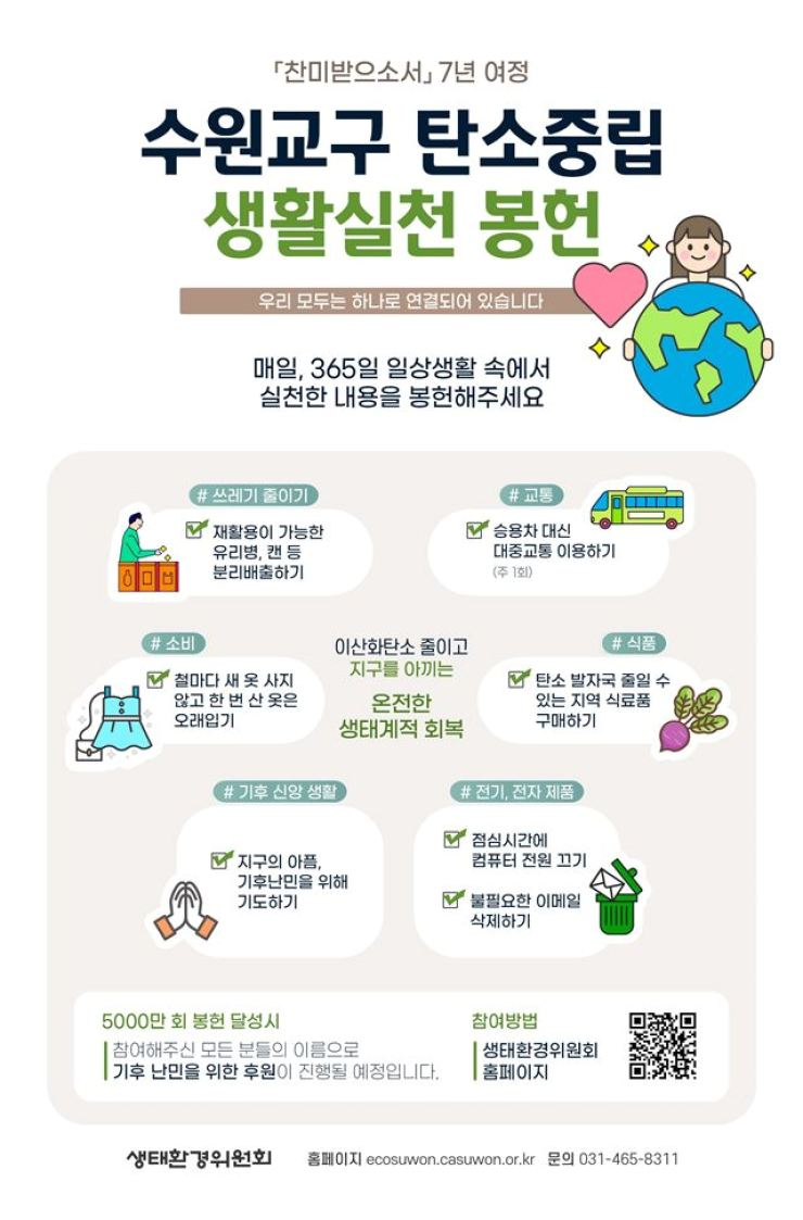 Poster for the Catholic Diocese's campaign 'Dedication of practice of carbon neutrality in the Catholic Diocese of Suwon' / Courtesy of Catholic Diocese of Suwon