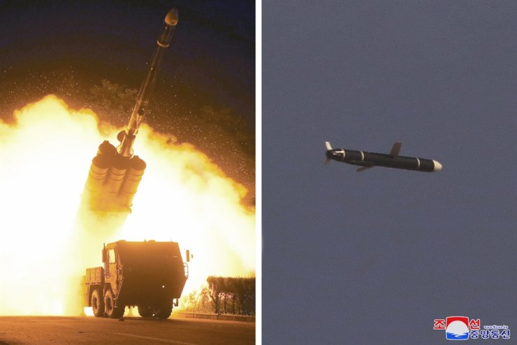 The photos, provided by the Korean Central News Agency on Sept. 13, show a missile being fired and traveling in the sky. Yonhap