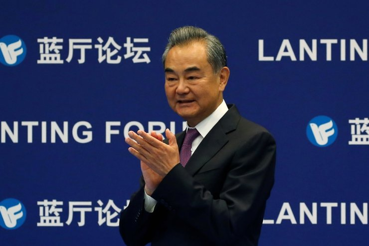 Chinese Foreign Minister Wang Yi attends a Lanting Forum themed 'China and the UN: Cooperation in 50 Years and Beyond,' held in Beijing, China, June 25. Reuters-Yonhap