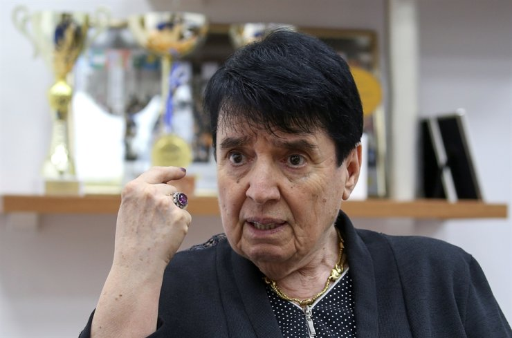 Nona Gaprindashvili, a Soviet-era chess grandmaster from Georgia, speaks during an interview in Tbilisi, Georgia May 10, 2019 in this file photo. Reuters-Yonhap