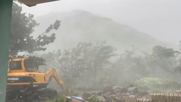 In this Sept. 11 still image from video obtained via social media, trees sway amid strong winds and rain as Typhoon Chanthu passes through Sabtang, Batanes, Philippines. Reuters-Yonhap