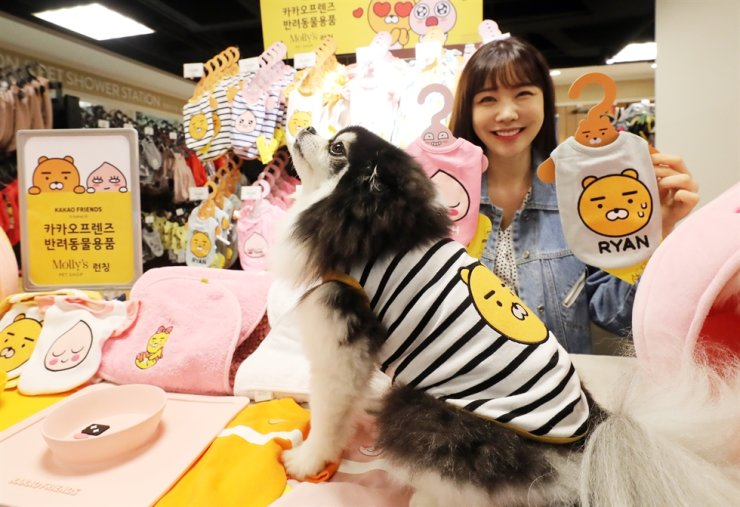 A dog poses with an outfit for sale at Molly's Pet Shop at an E-mart in Seongsu-dong, eastern Seoul, in this 2019 file photo. Yonhap