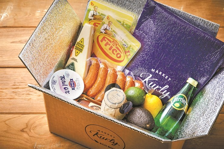 Grocery products in a Market Kurly delivery box / Courtesy of Market Kurly