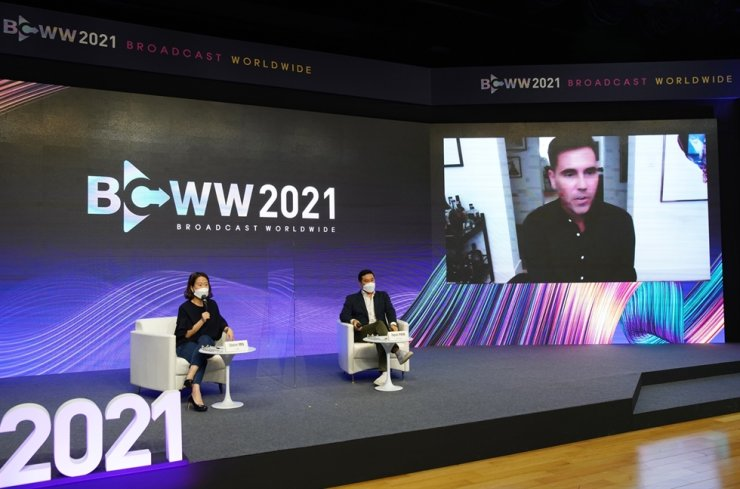 Diane Min, head of format sales at CJ ENM, from left, Studio Dragon Global Division head Hyun Park and Skydance Television President Bill Bost take part in a session at the Broadcast Worldwide 2021 trade fair, held from Sept. 6 to 10. Courtesy of KOCCA