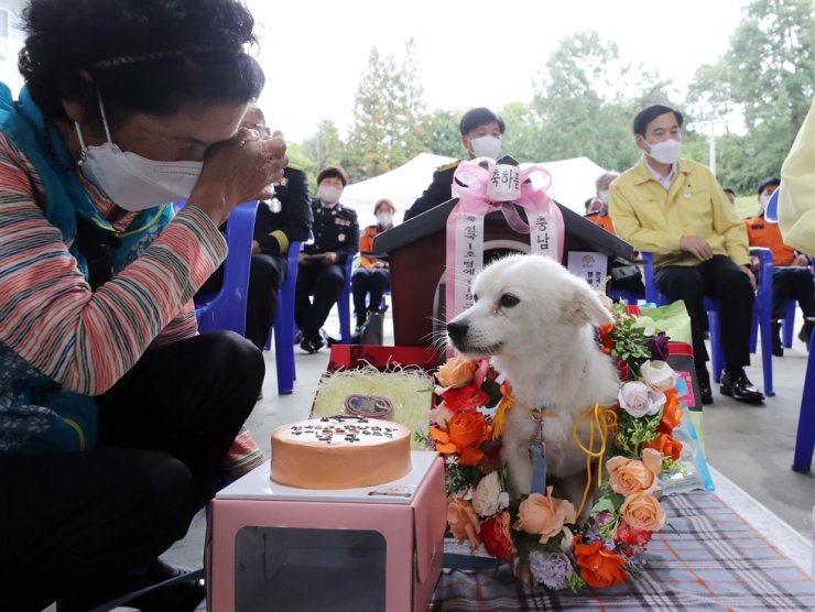 Baekgu sits next to Shim, left, in front of its new house during the ceremony for the dog, Sept. 6. Yonhap